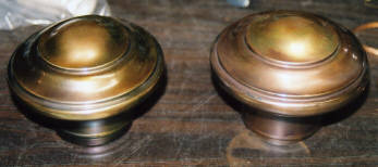 Brass bed caps after repair