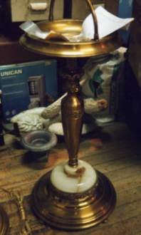 Brass plating lamps and ashtray, matching the antique finishes