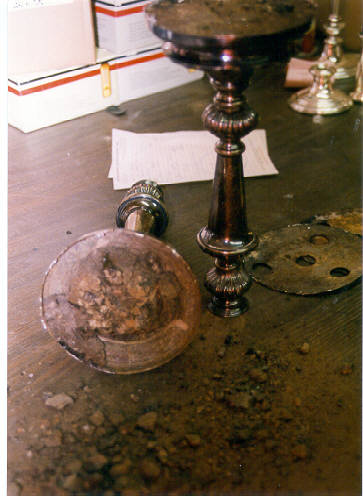 More plaster and plating solutions trapped in the bottom of the candlestick, rotting it out. Never plate anything with plaster in it!
