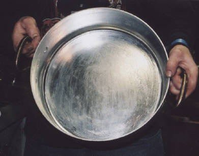 Copper pan, tin washed